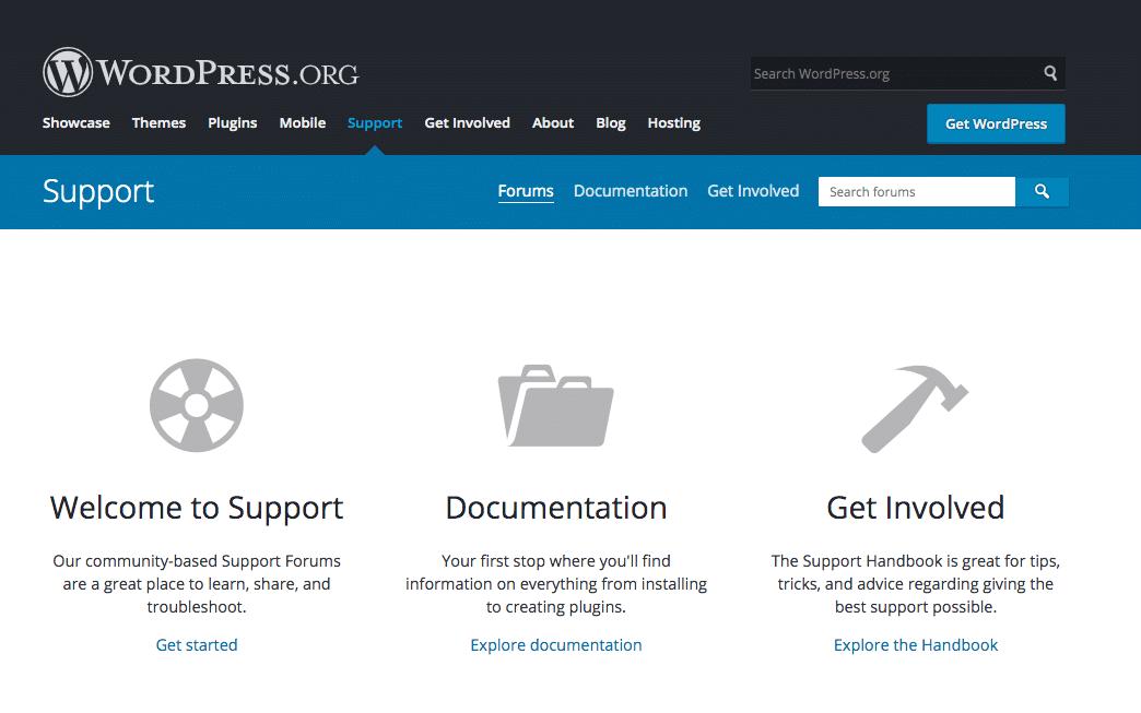 Fóruns de suporte do WordPress