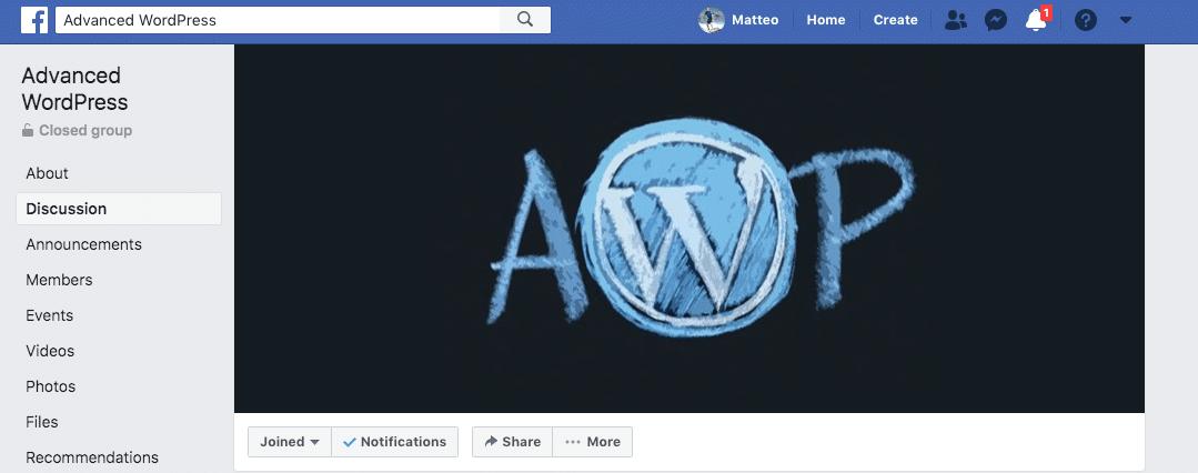 Grupo Advanced WP no Facebook