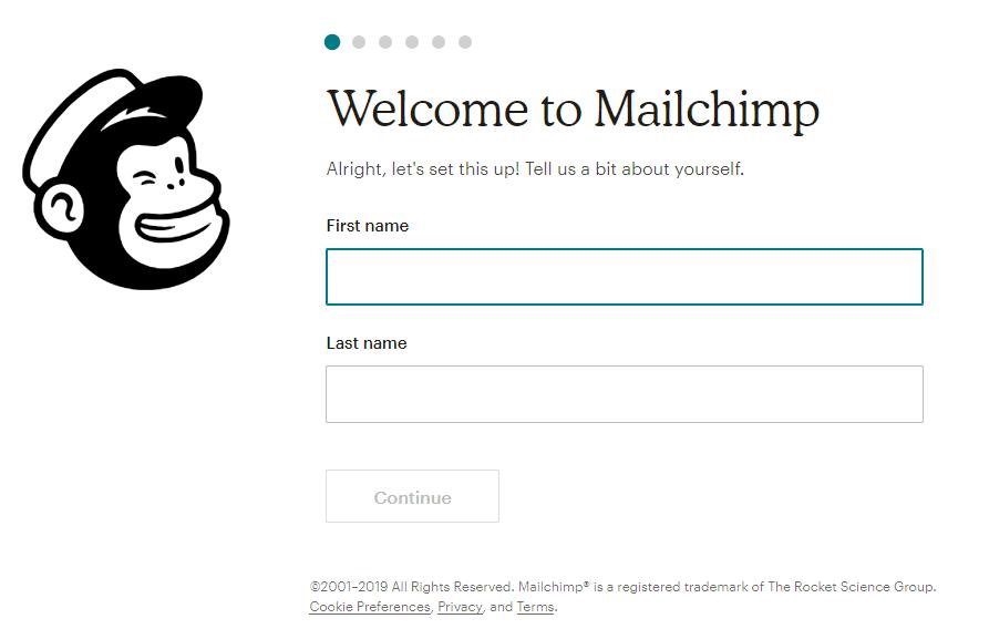 Informações de registro no Mailchimp