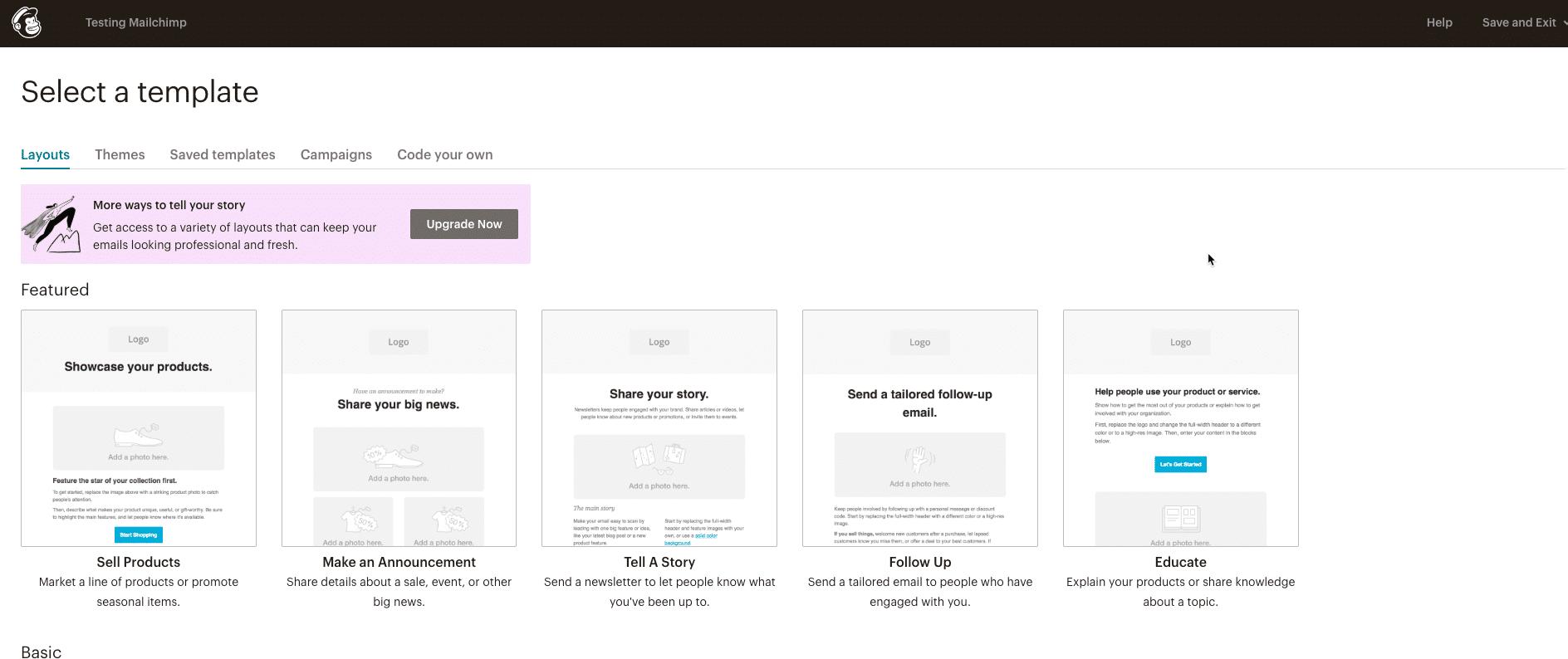 Layouts de e-mail no Mailchimp