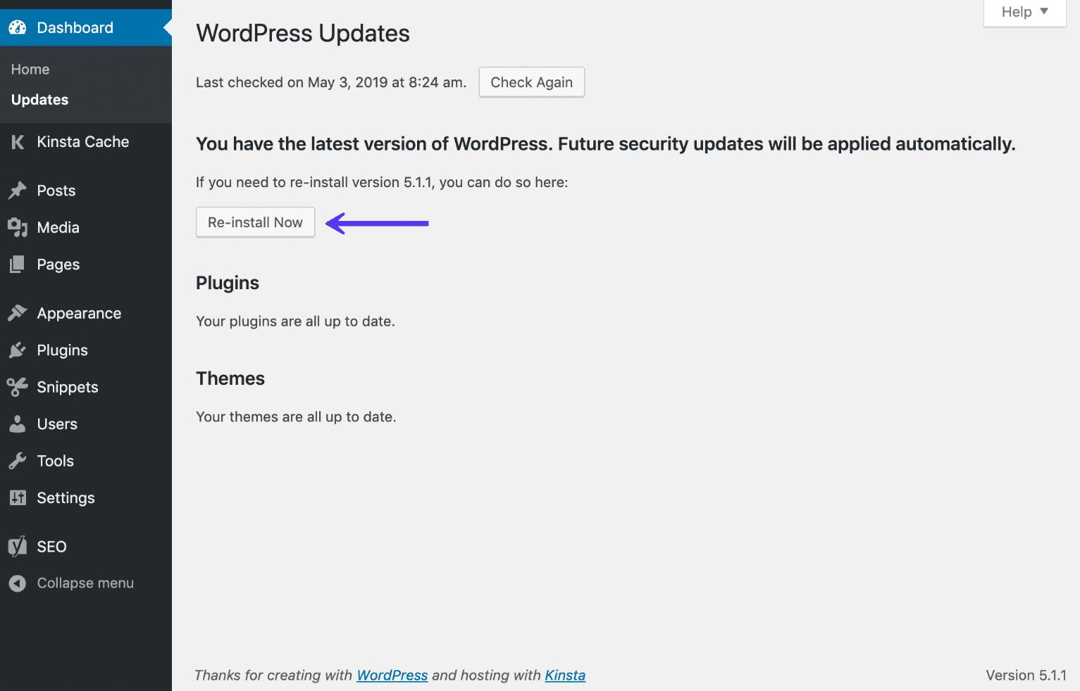 """Opção """"reinstalar agora"""" no painel WordPress"""