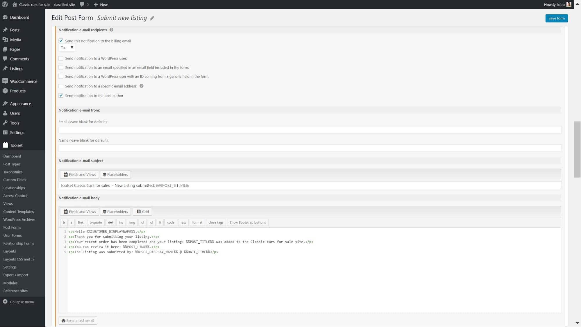 Página de configurações de notificações por e-mail