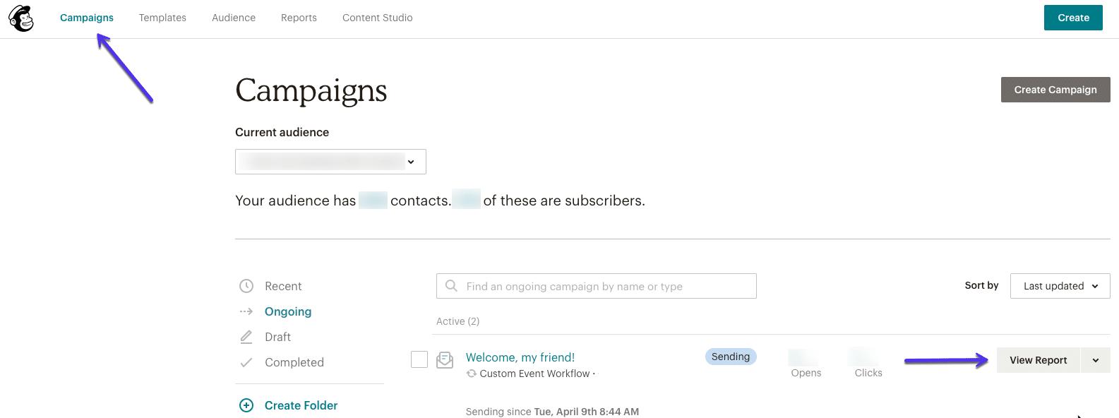 Relatórios de campanhas de e-mail automático