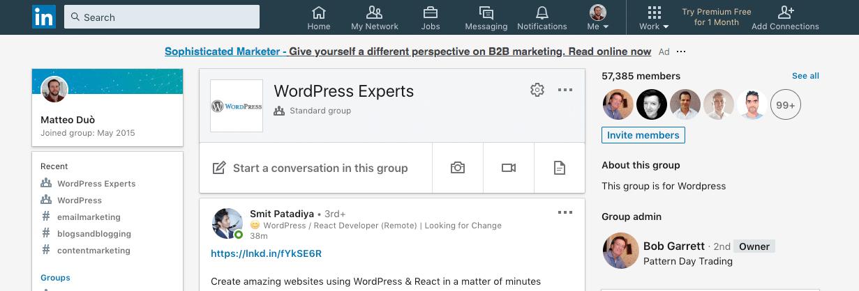 Grupo WordPress Experts no LinkedIn