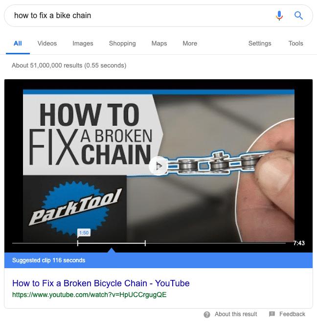 Snippet em destaque com snippet do YouTube