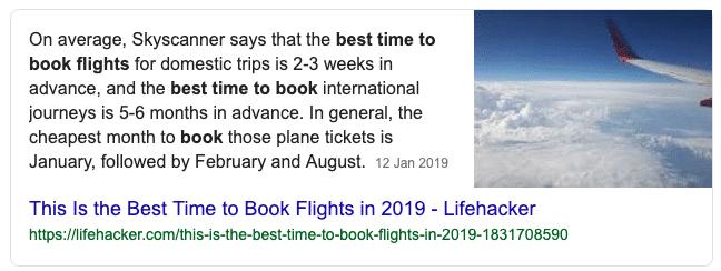 Snippet em destaque sobre reserva de voos