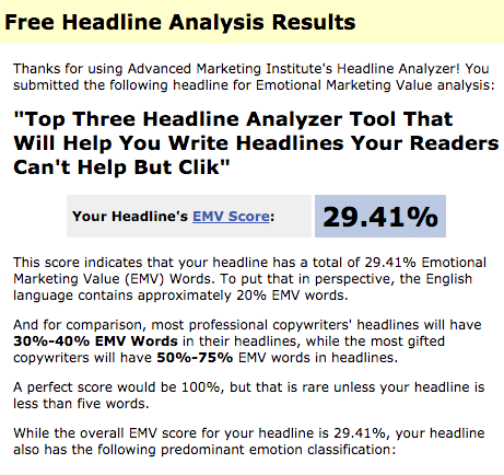 Resultados do Advanced Marketing Institute Headline Analyzer
