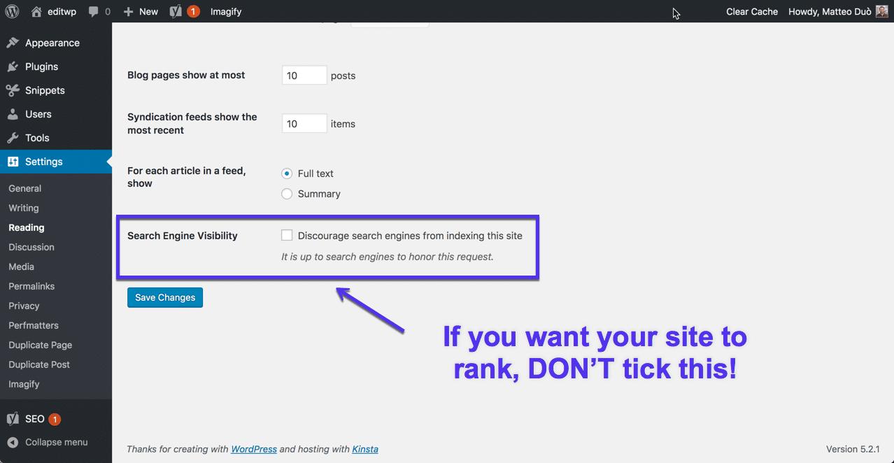 Configurações de indexação do WordPress