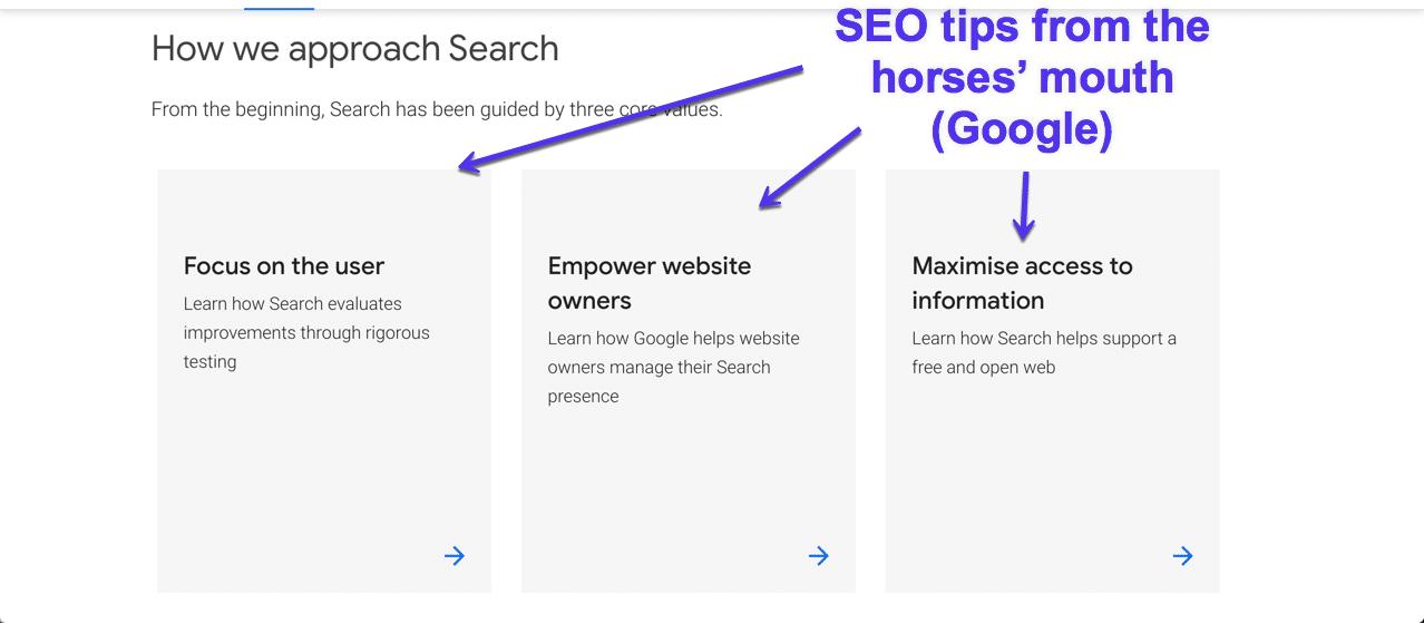 Dicas de SEO do Google
