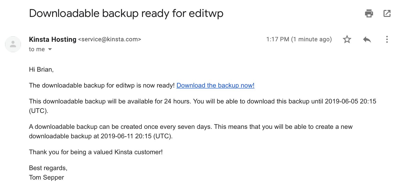 E-mail de backup para download