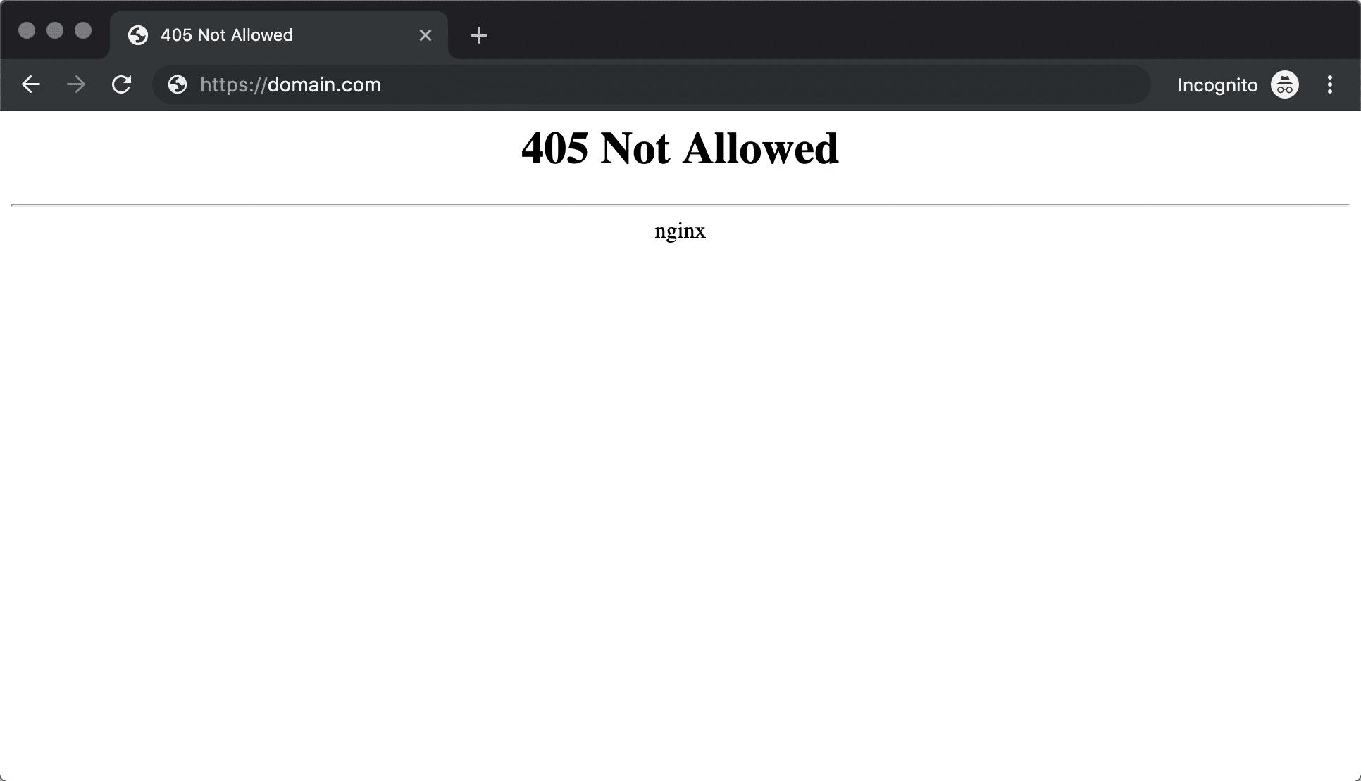 Erro 405 Não Permitido Nginx no Chrome