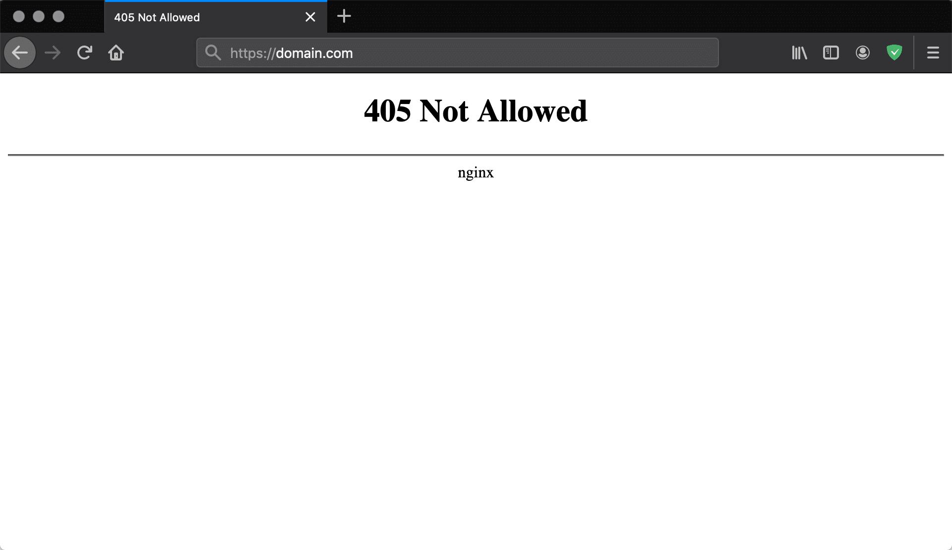 Erro 405 Não Permitido Nginx no Firefox