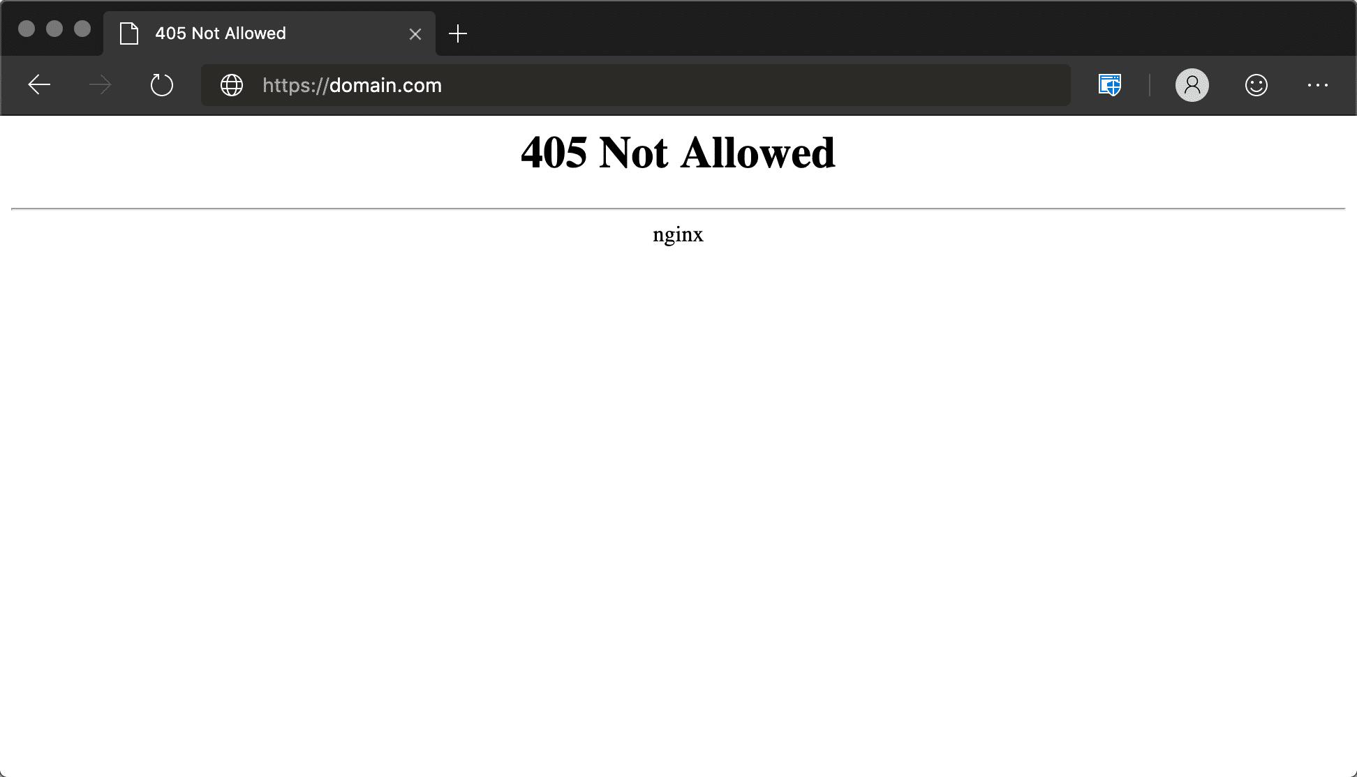 Erro 405 Não Permitido Nginx no Microsoft Edge