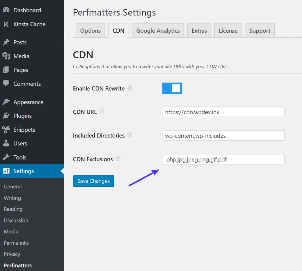 Exclusões de CDN no Perfmatters