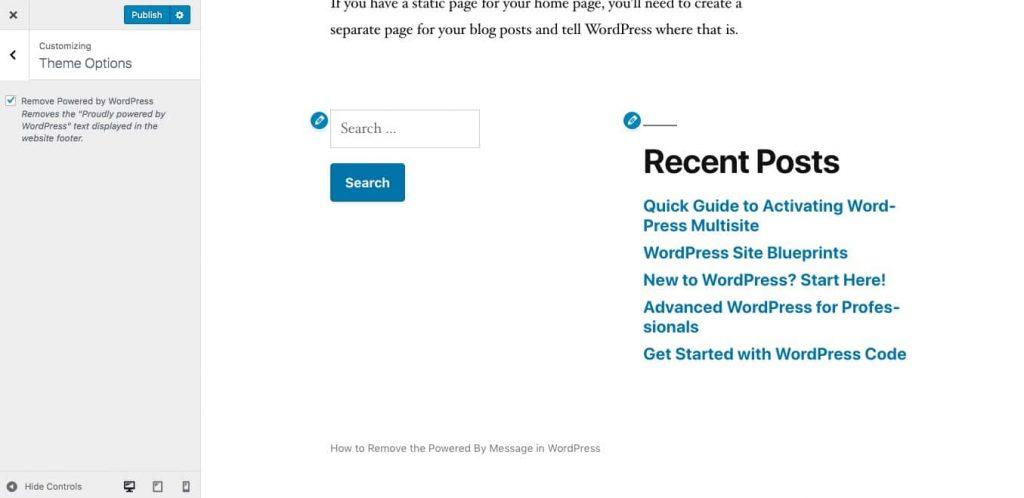 """powered by WordPress"" removido do rodapé do tema dos Vinte Dezanove"