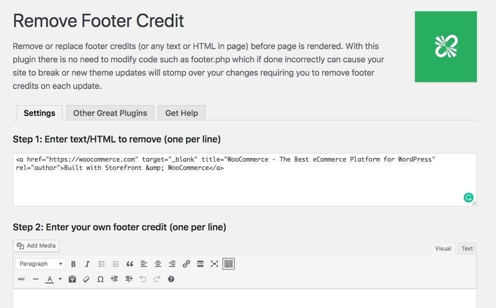 Adicionando HTML às configurações de Remover crédito de rodapé