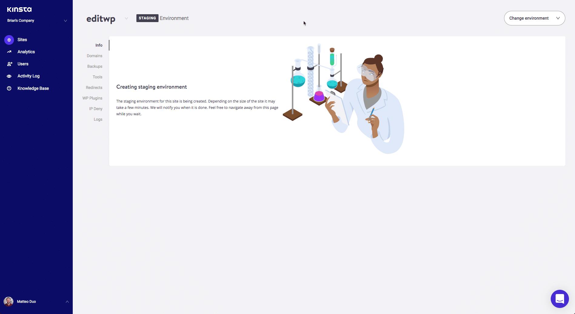 Site de testes criado no MyKinsta