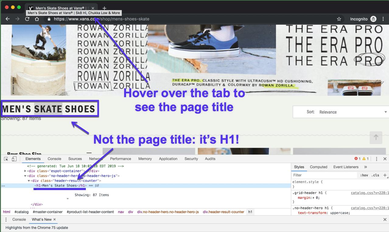 Título da página versus H1 no Chrome