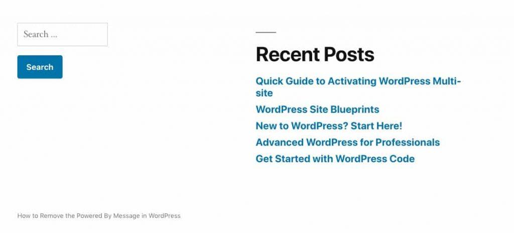"""O rodapé dos Twenty Nineteen com """"powered by WordPress"""" removido"""
