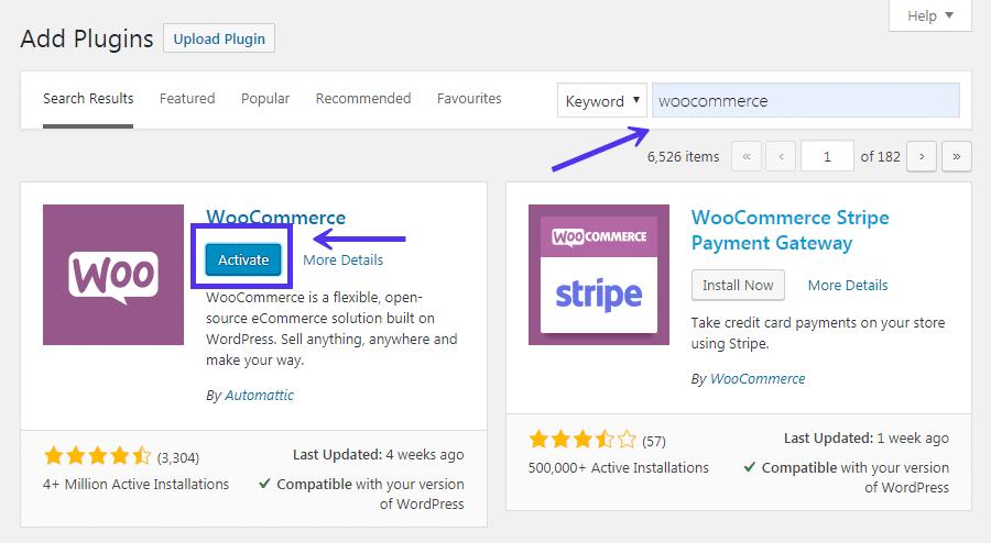 Ativando o WooCommerce