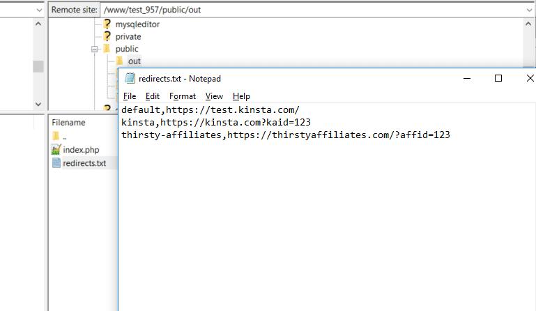 Adicionar o arquivo redirects.txt