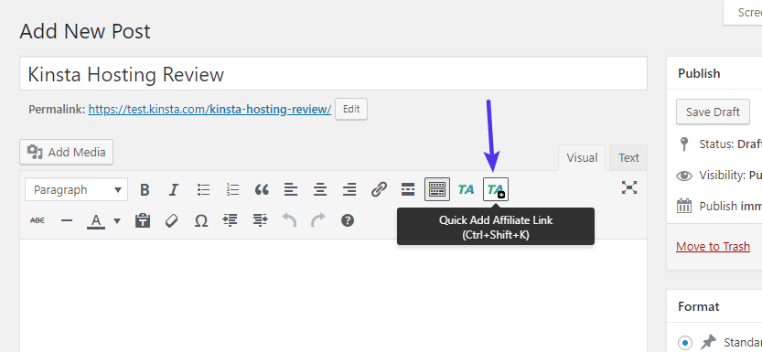 Adicione rapidamente um novo link a partir do editor TinyMCE