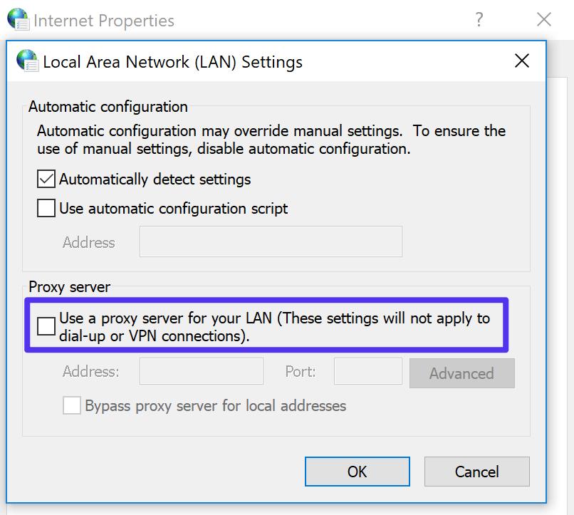 Verifique as configurações do proxy