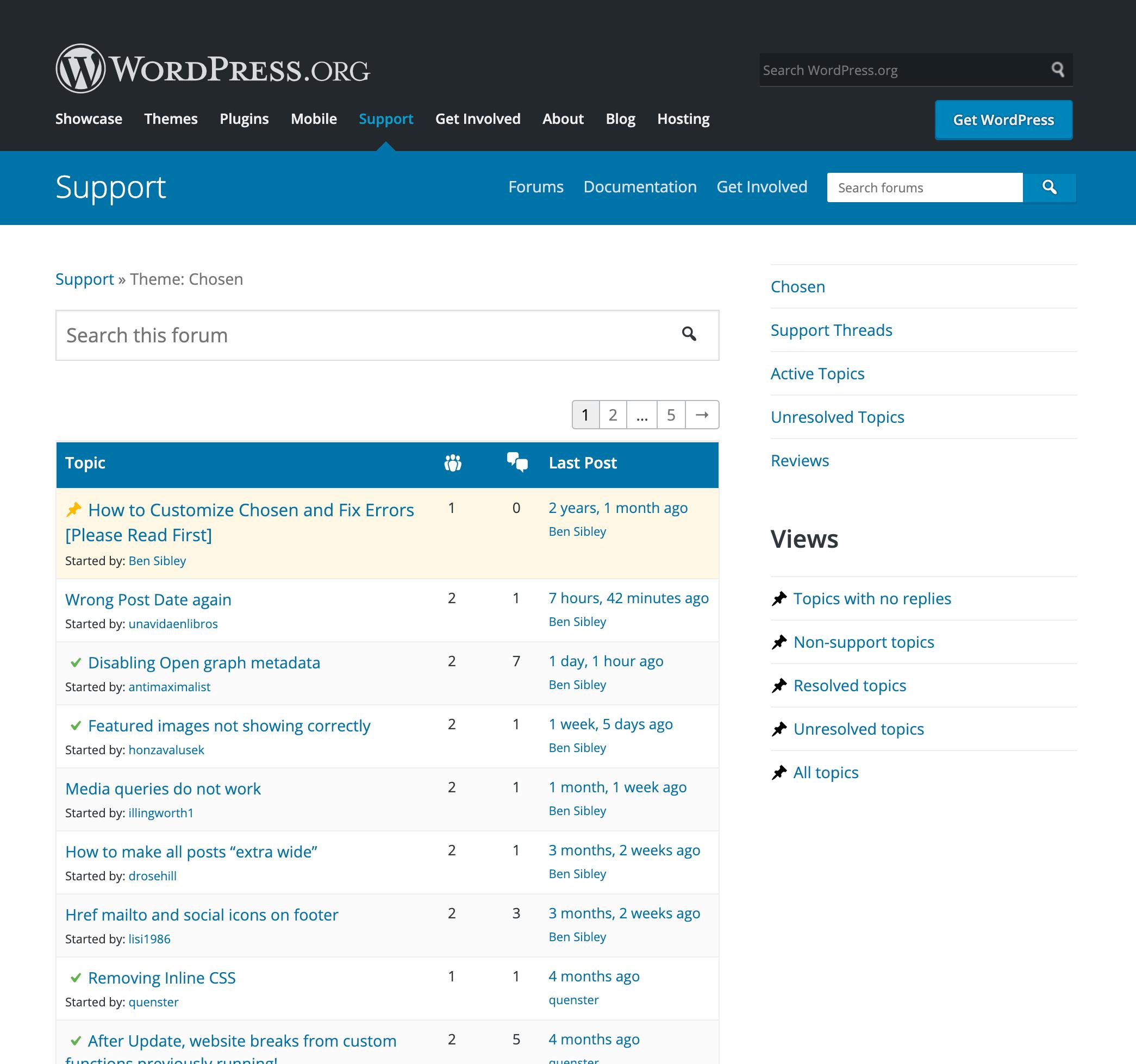 Fóruns de suporte WordPress