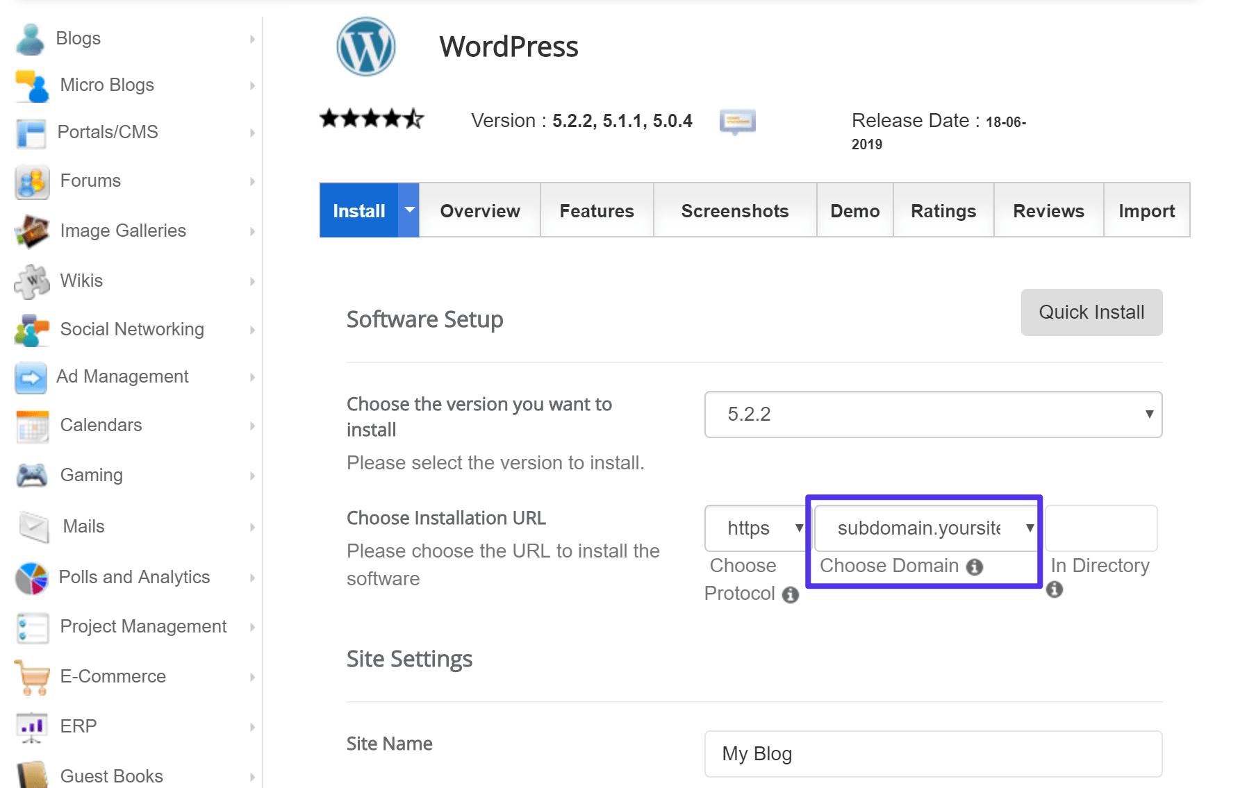 Como instalar o WordPress em um subdomínio com um auto-instalador