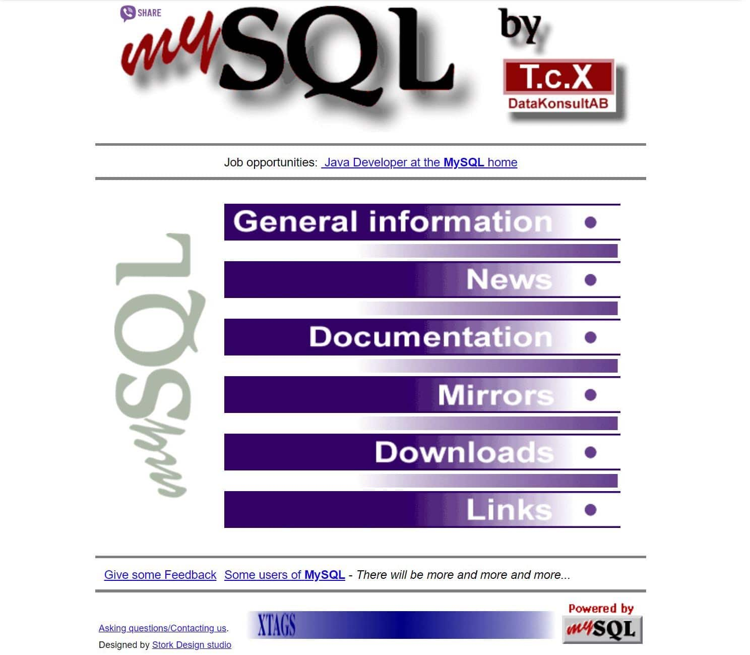 Página antiga do MySQL de 1998