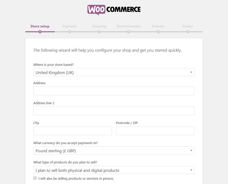 A página de configuração da WooCommerce Store