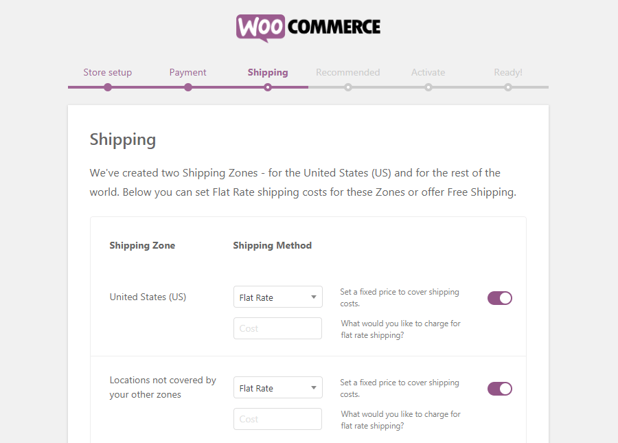A página de Envio do WooCommerce