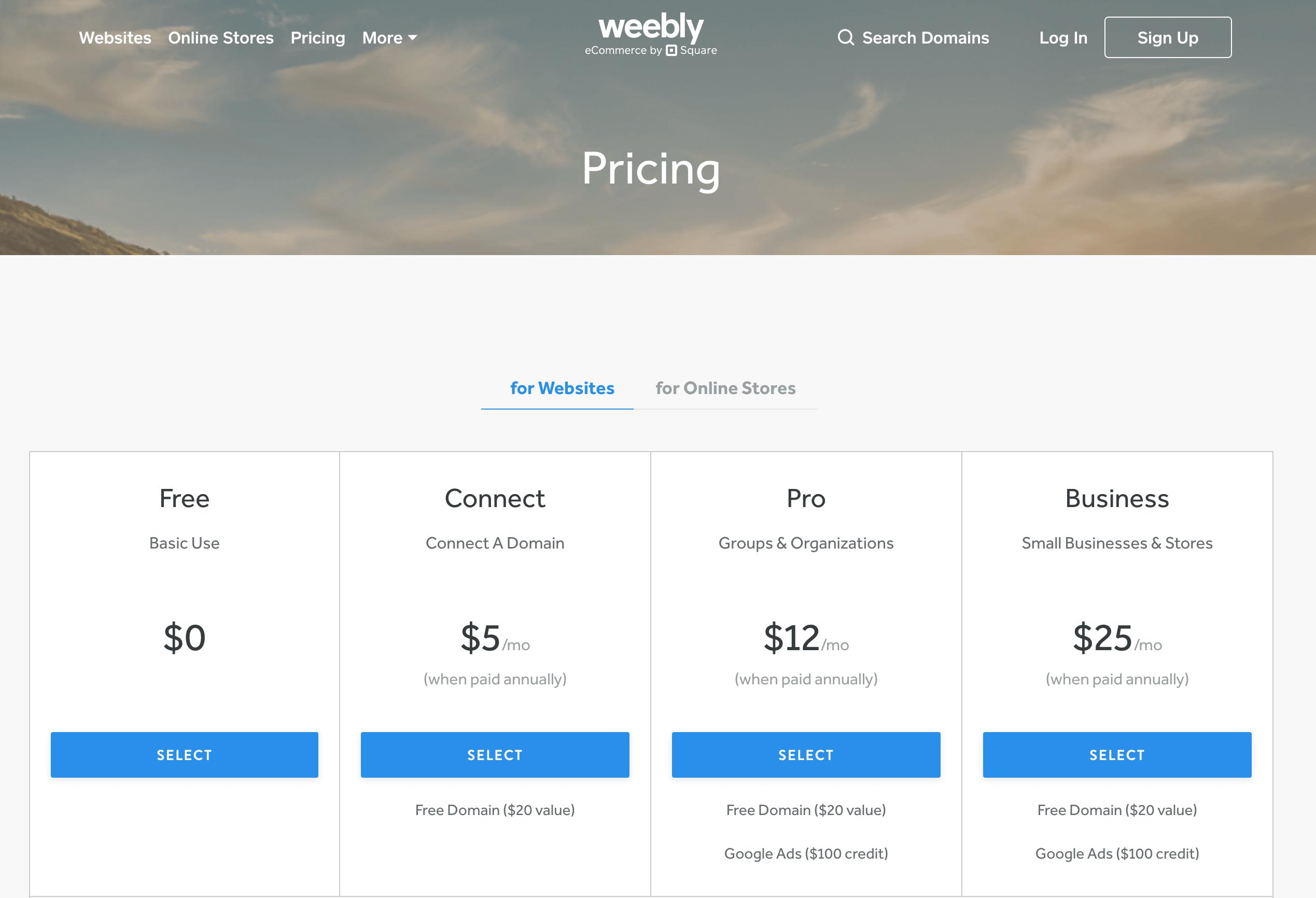 Planos de preços Weebly