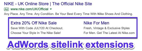 Sitelinks do Google AdWords