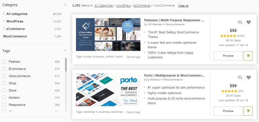 Uma seleção de temas do WooCommerce