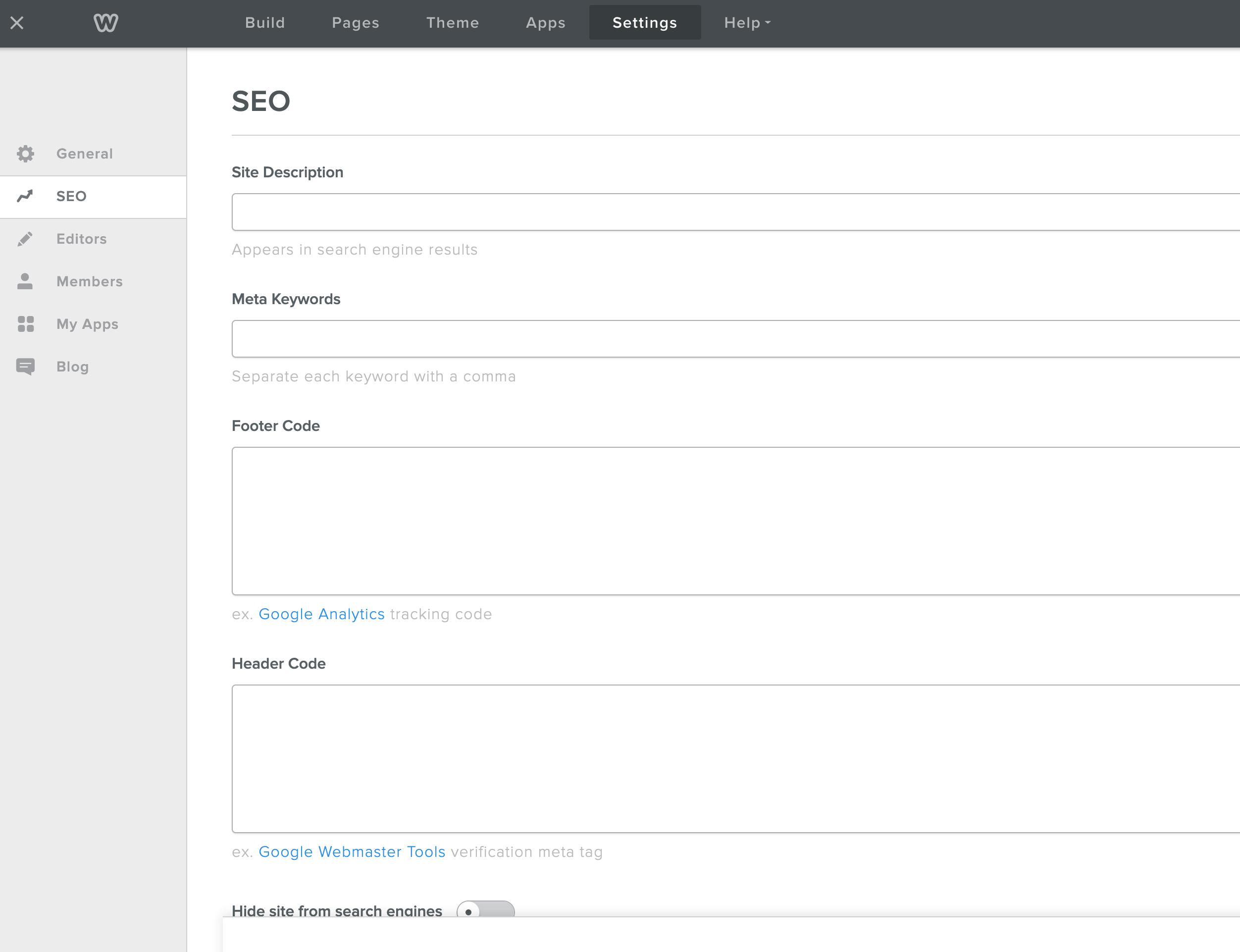 Weebly site setup SEO opções