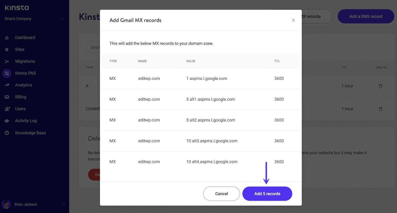 Adicione registros aspmx.l.google.com