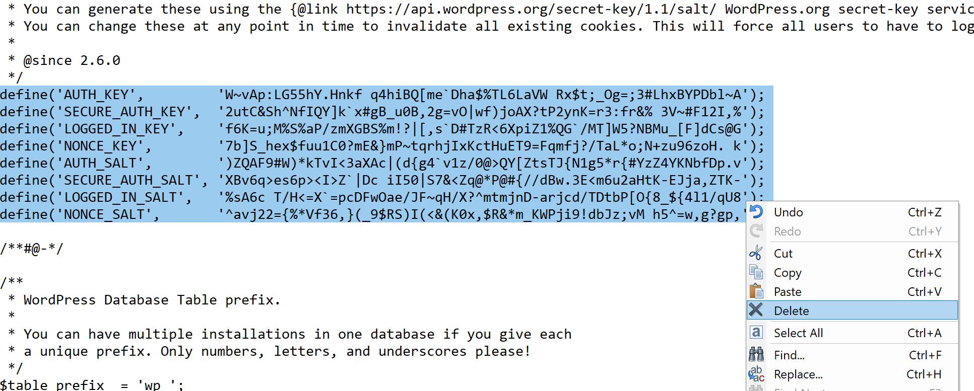 Como alterar sais em wp-config.php