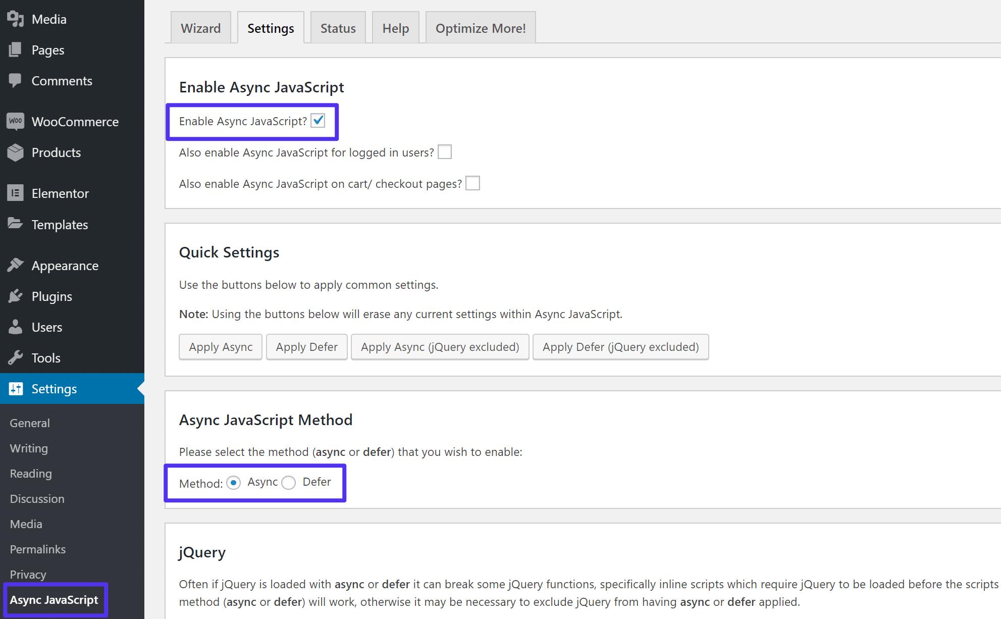 Como usar o plugin JavaScript Async
