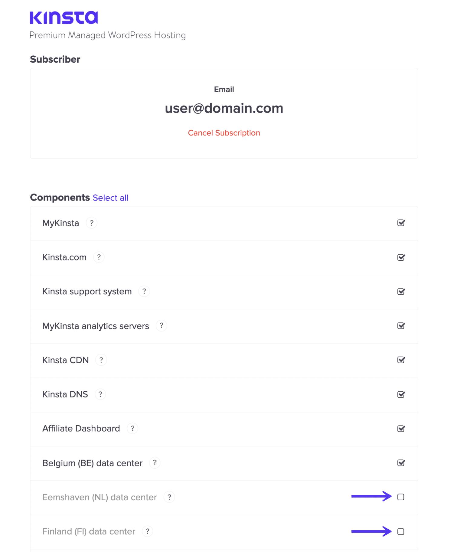Escolha assinaturas da página de status Kinsta