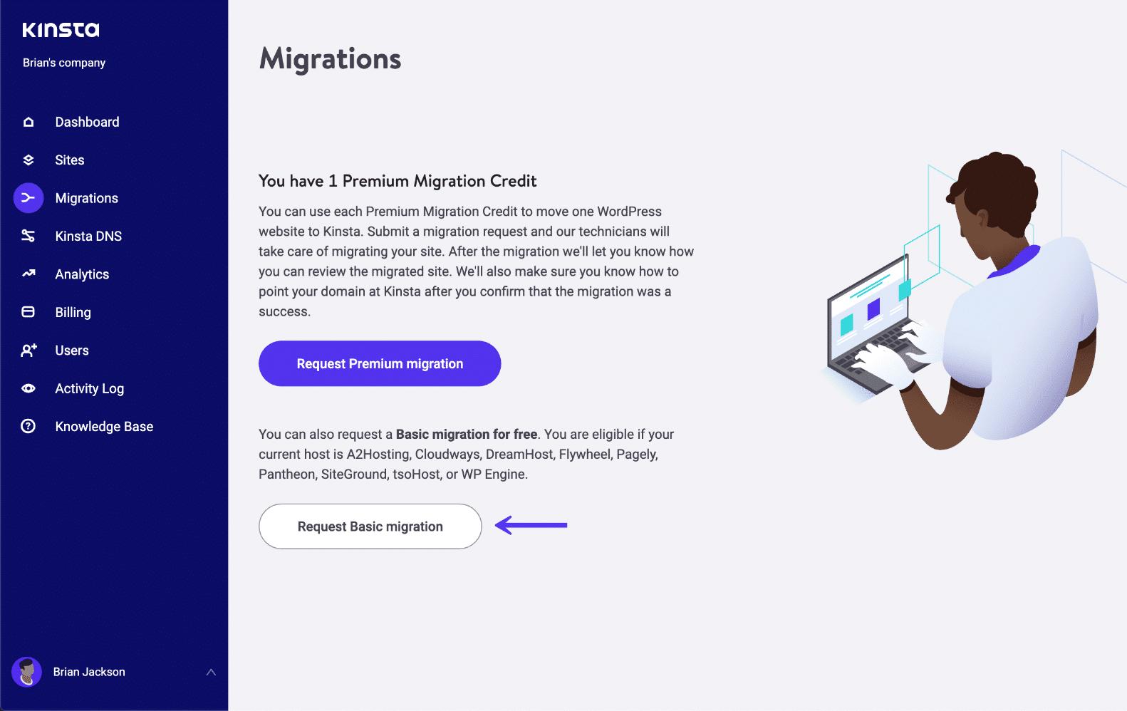 Migrações básicas em MyKinsta
