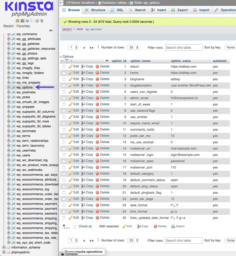 Banco de dados MySQL wp_options