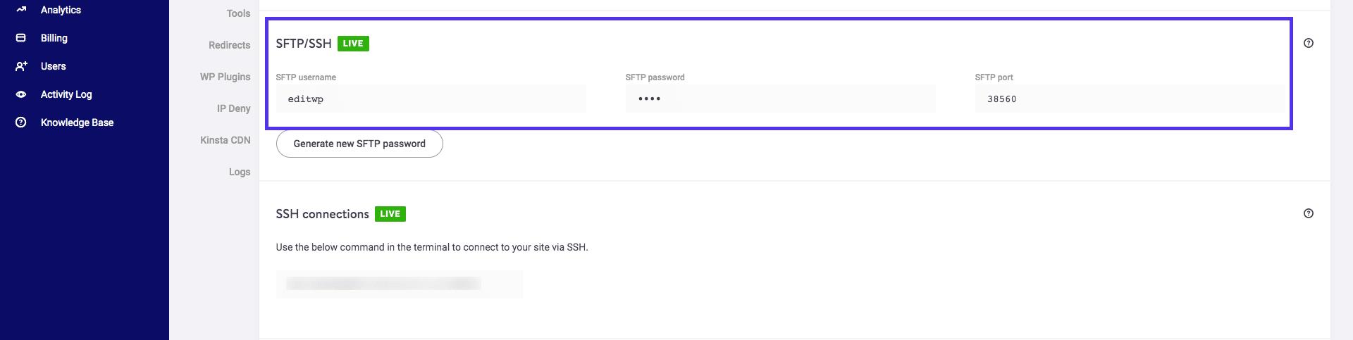 SFTP nome de usuário, senha e porta