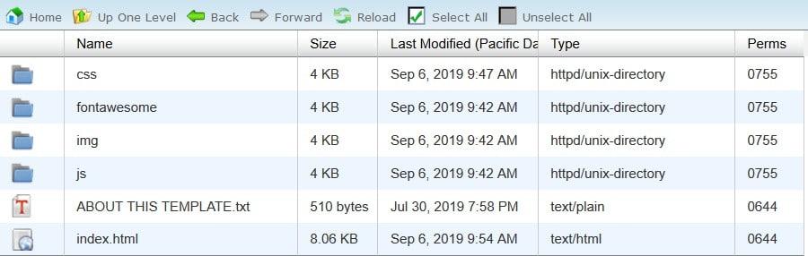 Arquivos HTML extraídos