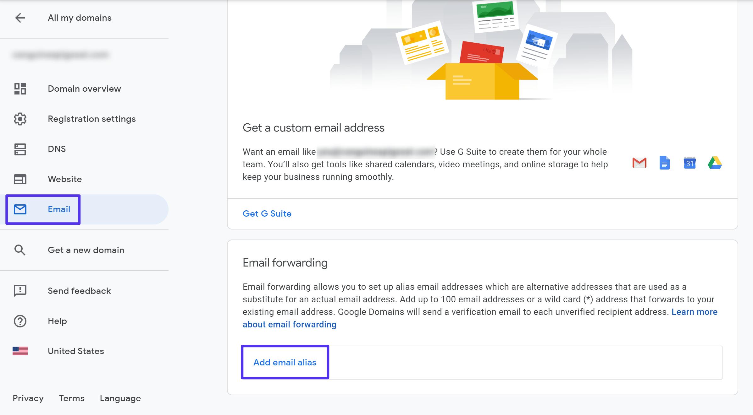 Como criar aliases de e-mail do Google Domains