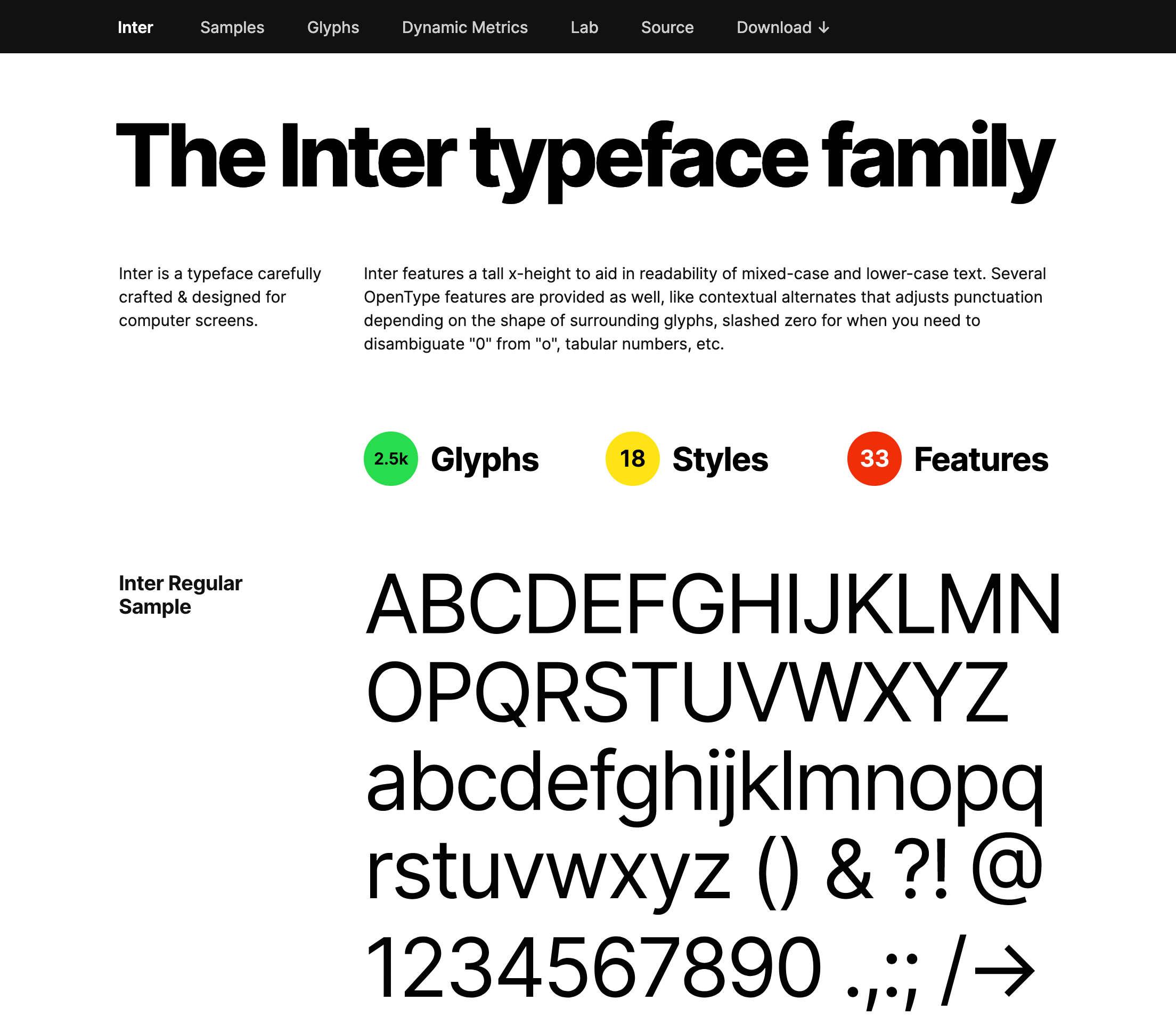 A família Inter typeface