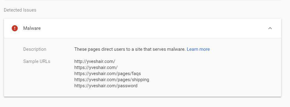 Páginas infectadas listadas no Google Search Console