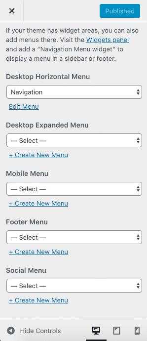 Localizações dos menus em Twenty Twenty