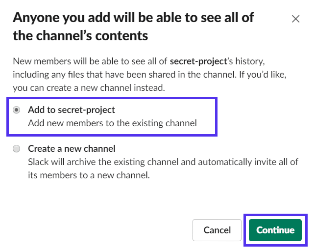 Adicionar pessoas a um canal Slack privado