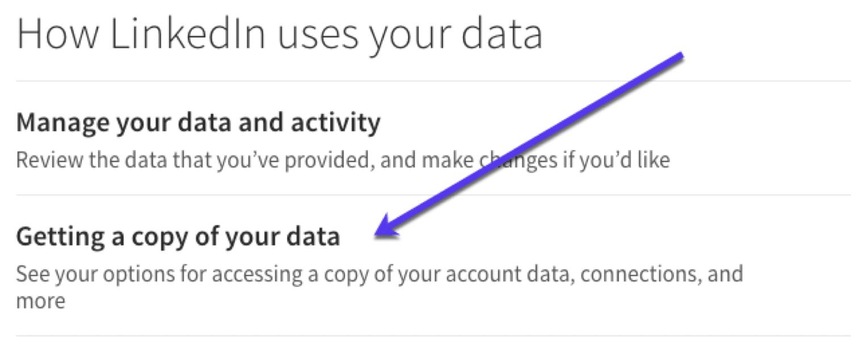 Download de dados de e-mail do LinkedIn